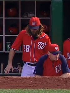 Werth doing some sort of on base dance, presumably
