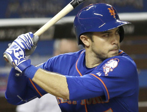 New York Mets' Travis d'Arnaud (15) prepares to bat during a baseball game against the Miami Marlins in Miami, Monday, May 5, 2014. (AP Photo/Alan Diaz)